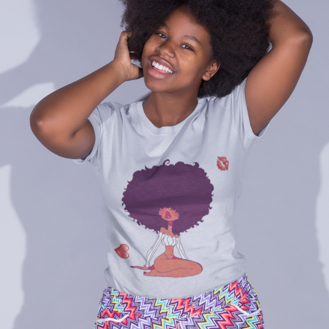 afro love black woman girl  t shirt