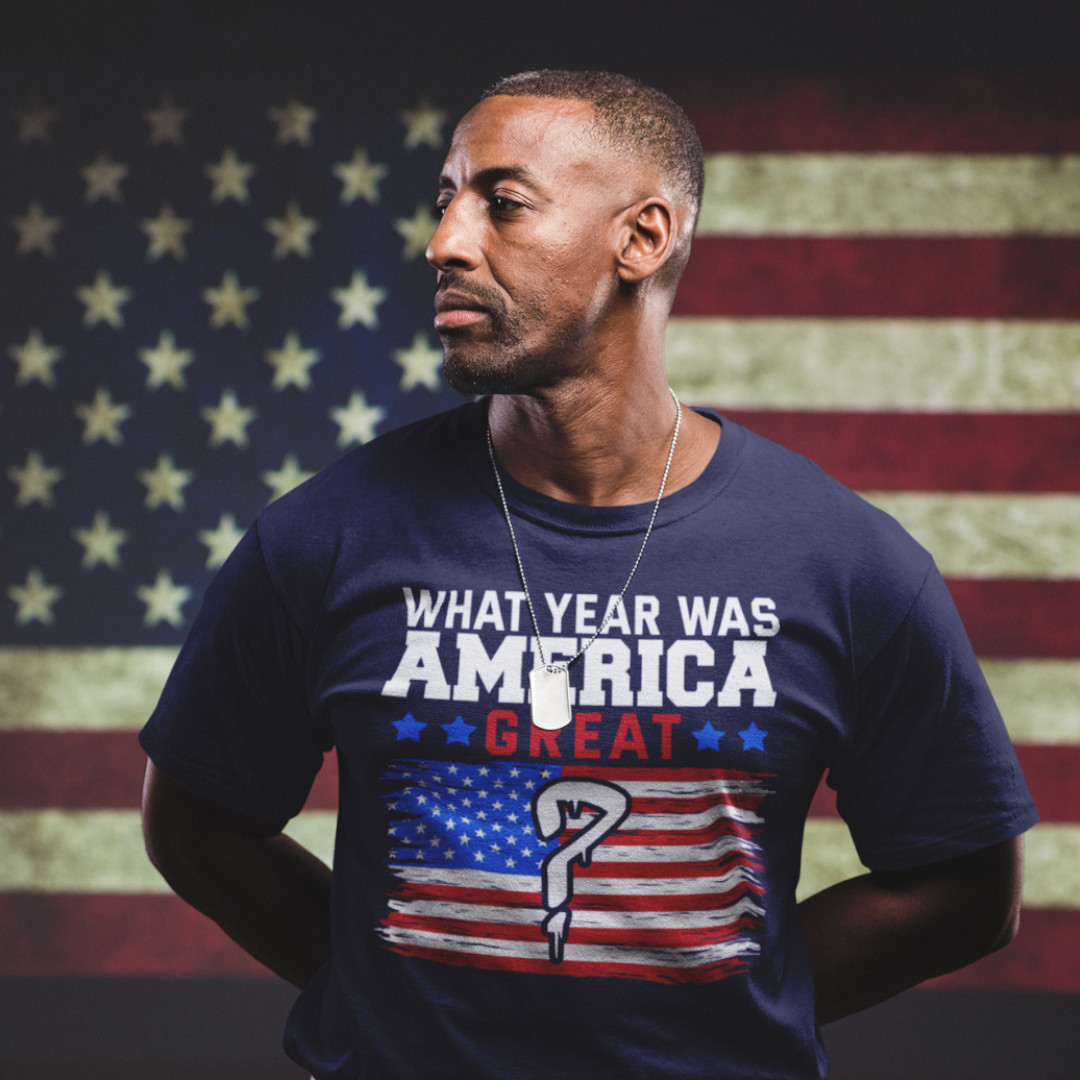 Make America Great Again what year anti trump political t-shirt on black man soldier with american flag